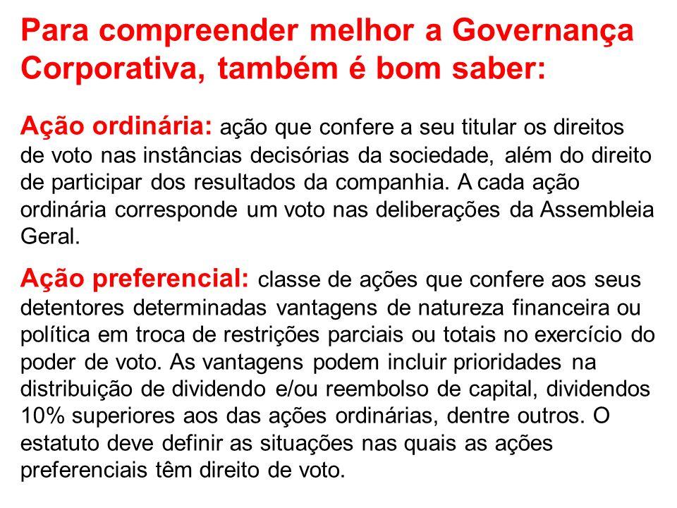 Para compreender melhor a Governança Corporativa, também é bom saber: