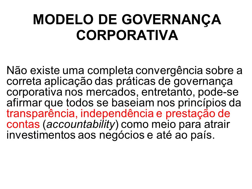 MODELO DE GOVERNANÇA CORPORATIVA