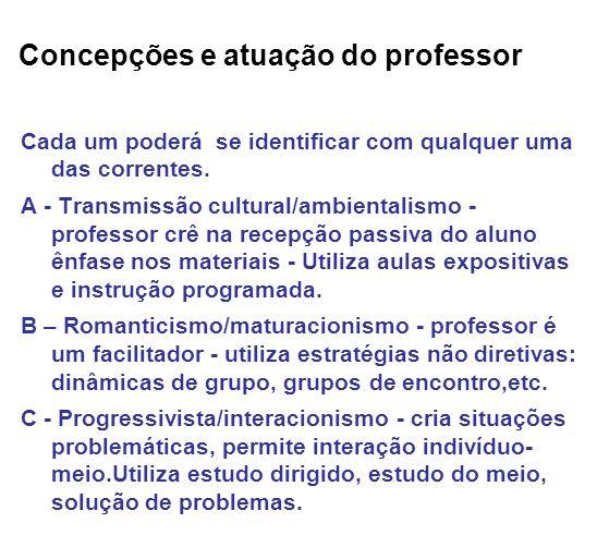 Concepções e atuação do professor