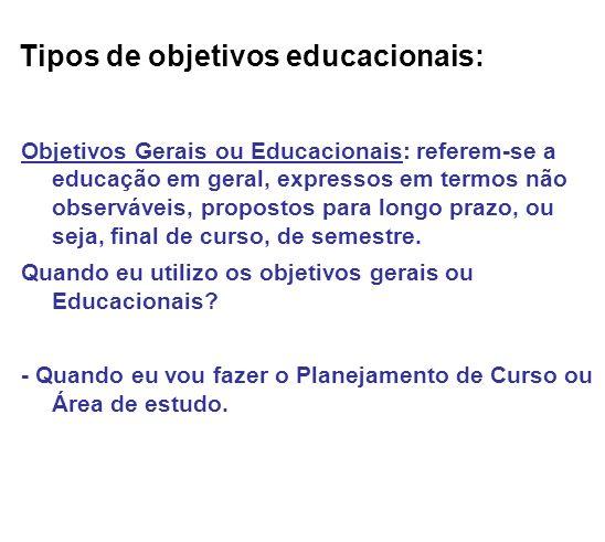 Tipos de objetivos educacionais: