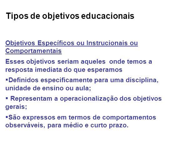 Tipos de objetivos educacionais
