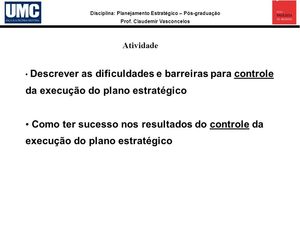 Atividade Descrever as dificuldades e barreiras para controle da execução do plano estratégico.