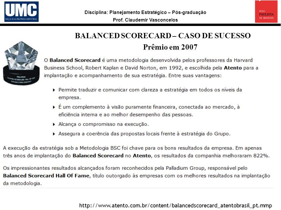 BALANCED SCORECARD – CASO DE SUCESSO Prêmio em 2007