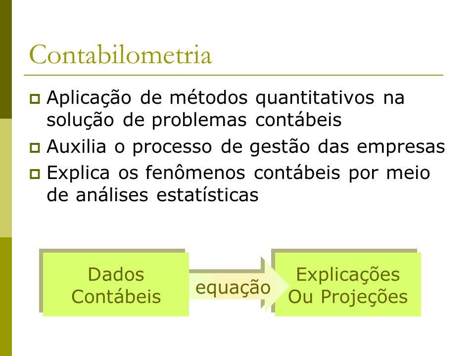Contabilometria Aplicação de métodos quantitativos na solução de problemas contábeis. Auxilia o processo de gestão das empresas.