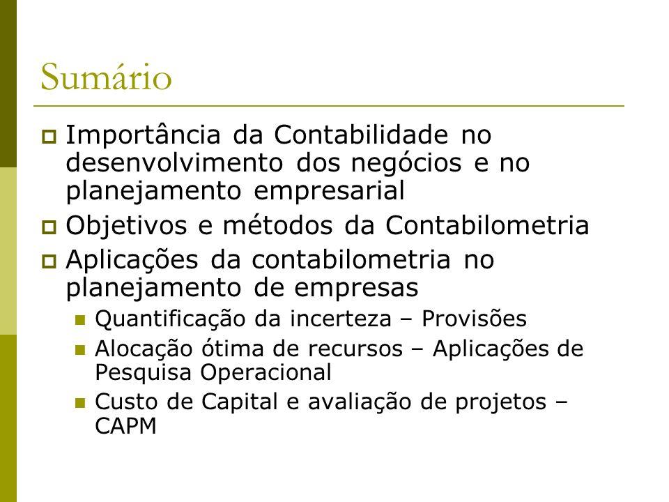 SumárioImportância da Contabilidade no desenvolvimento dos negócios e no planejamento empresarial. Objetivos e métodos da Contabilometria.