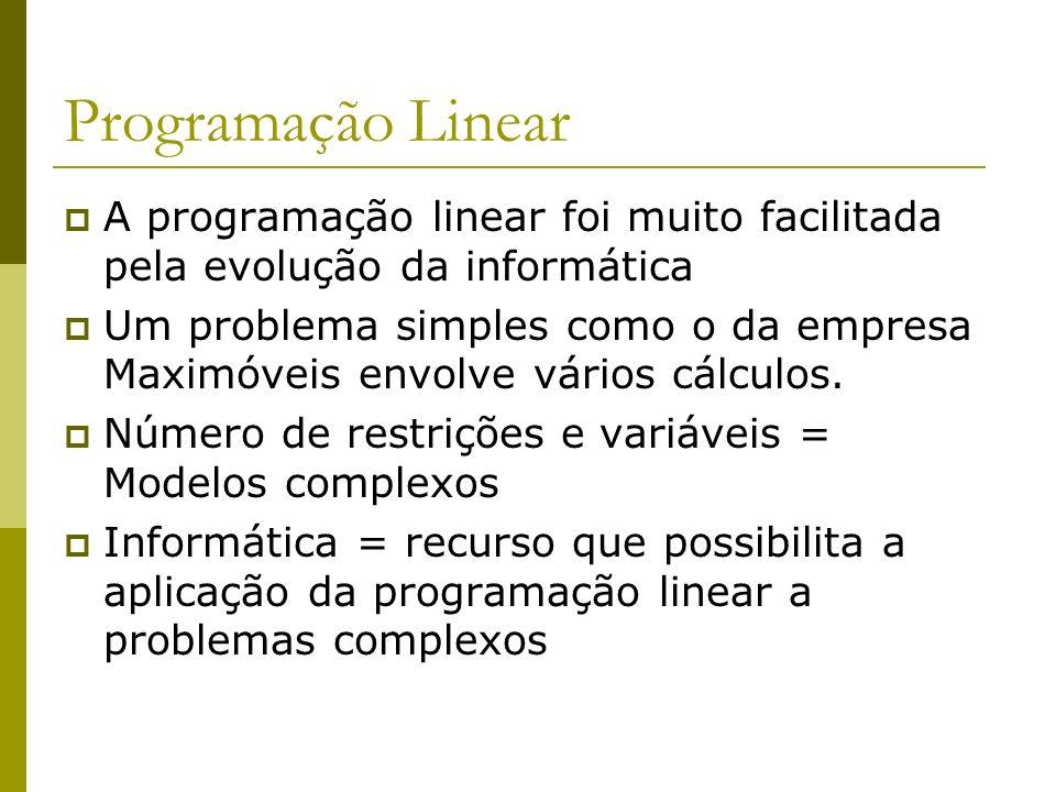 Programação Linear A programação linear foi muito facilitada pela evolução da informática.
