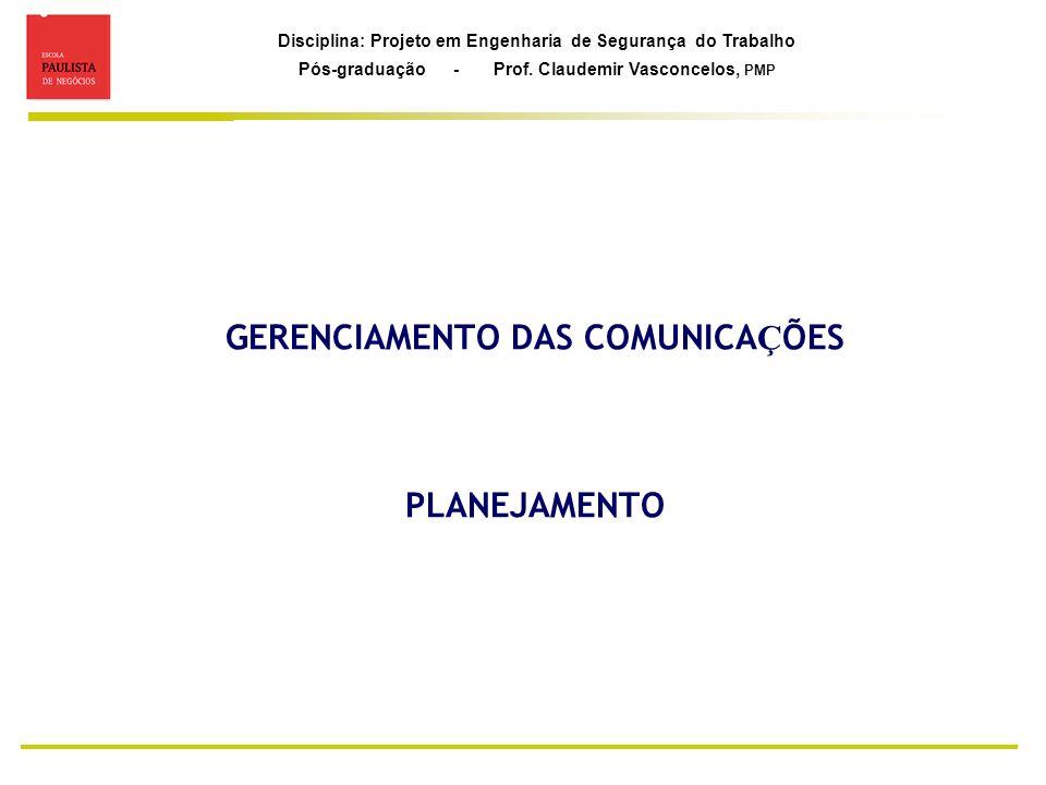 GERENCIAMENTO DAS COMUNICAÇÕES PLANEJAMENTO