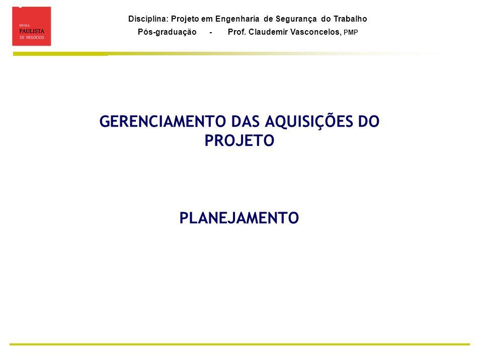GERENCIAMENTO DAS AQUISIÇÕES DO PROJETO PLANEJAMENTO