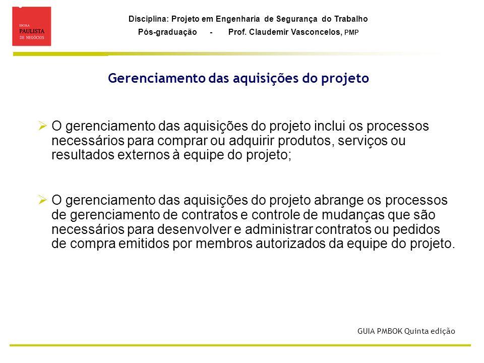 Gerenciamento das aquisições do projeto
