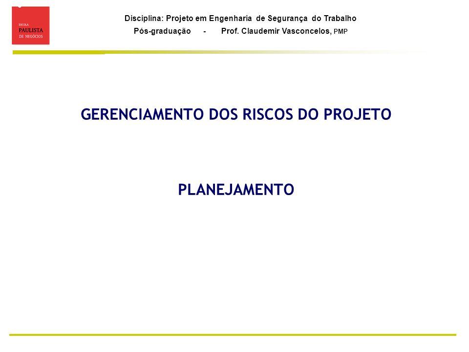 GERENCIAMENTO DOS RISCOS DO PROJETO PLANEJAMENTO