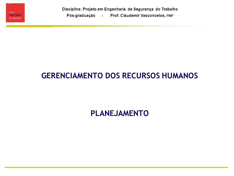 GERENCIAMENTO DOS RECURSOS HUMANOS PLANEJAMENTO