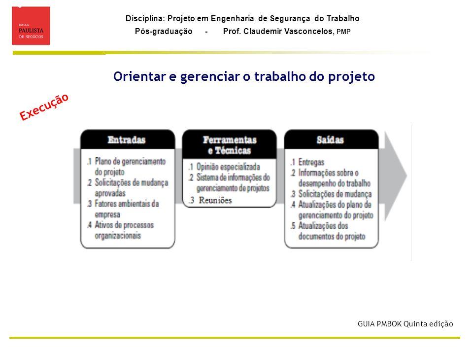 Orientar e gerenciar o trabalho do projeto