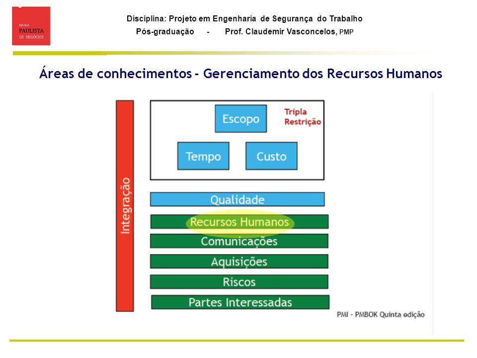 Áreas de conhecimentos - Gerenciamento dos Recursos Humanos