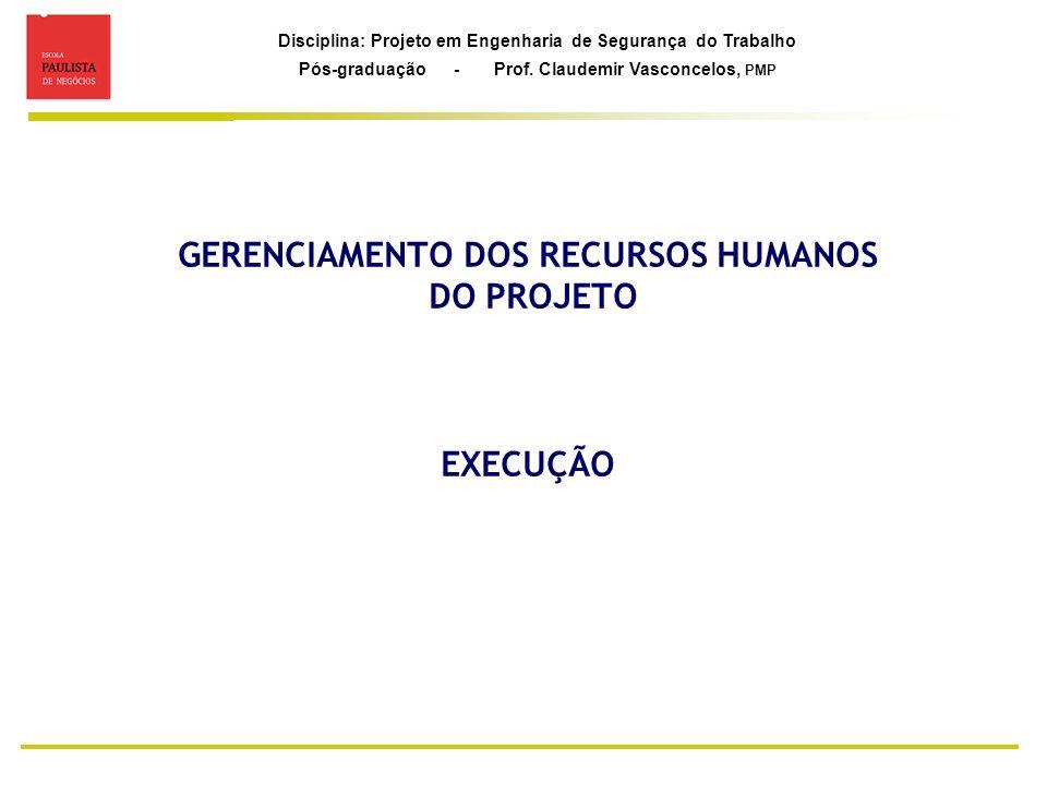 GERENCIAMENTO DOS RECURSOS HUMANOS DO PROJETO EXECUÇÃO