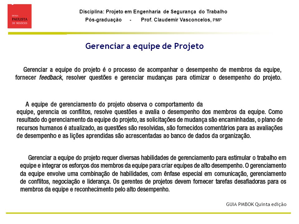 Gerenciar a equipe de Projeto