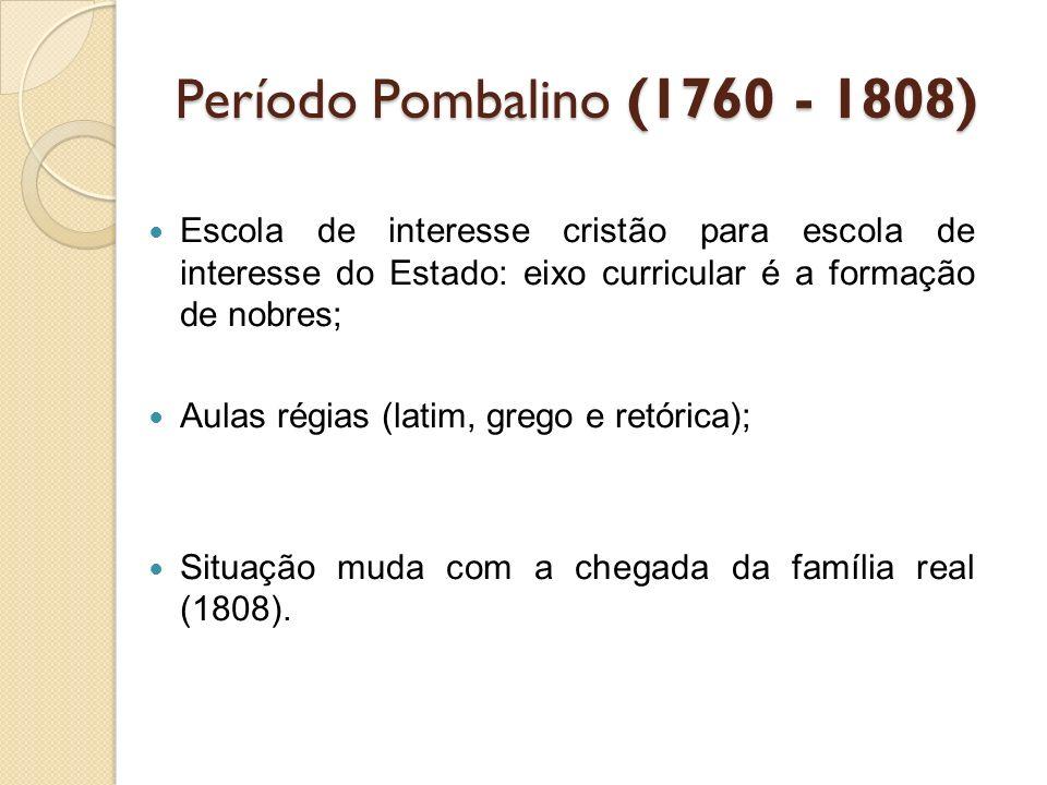 Período Pombalino (1760 - 1808) Escola de interesse cristão para escola de interesse do Estado: eixo curricular é a formação de nobres;