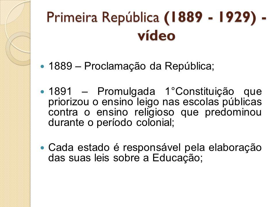 Primeira República (1889 - 1929) -vídeo
