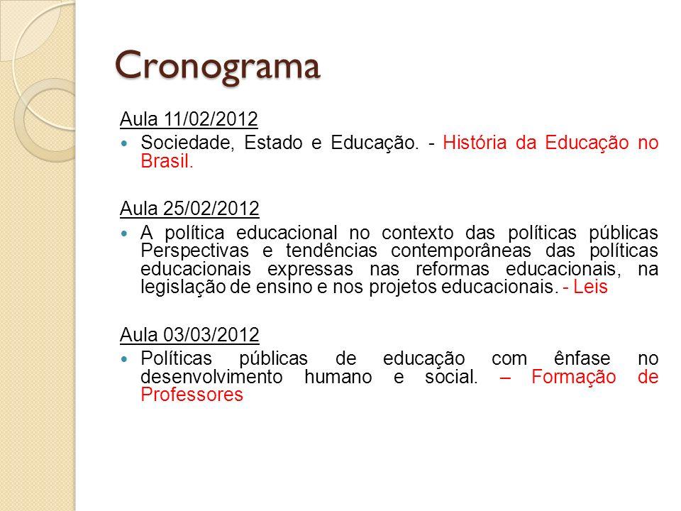 Cronograma Aula 11/02/2012. Sociedade, Estado e Educação. - História da Educação no Brasil. Aula 25/02/2012.