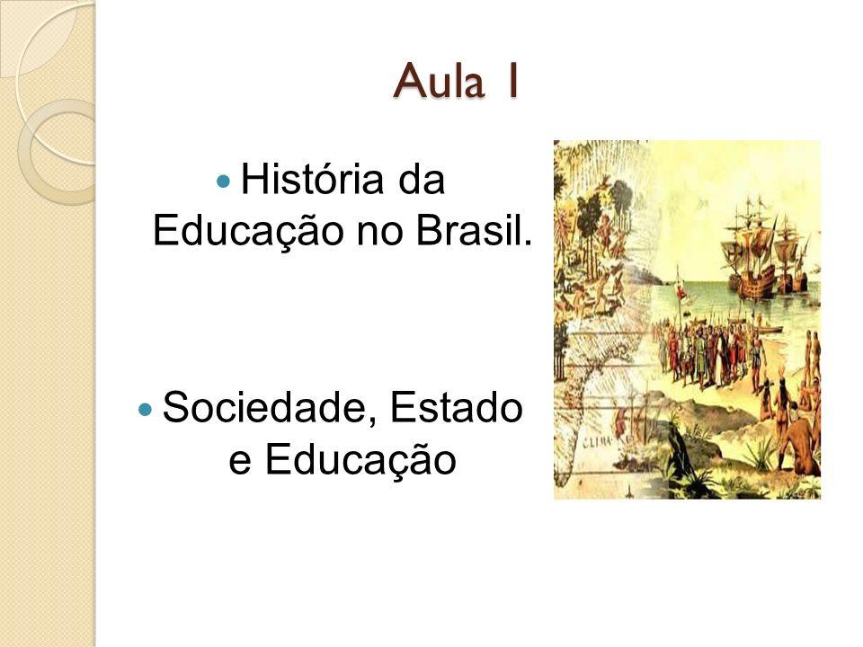 Aula 1 História da Educação no Brasil. Sociedade, Estado e Educação
