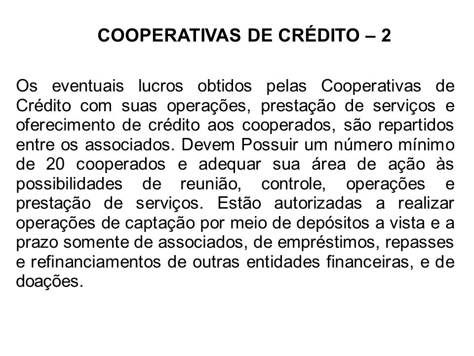 COOPERATIVAS DE CRÉDITO – 2