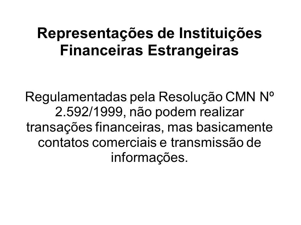 Representações de Instituições Financeiras Estrangeiras Regulamentadas pela Resolução CMN Nº 2.592/1999, não podem realizar transações financeiras, mas basicamente contatos comerciais e transmissão de informações.