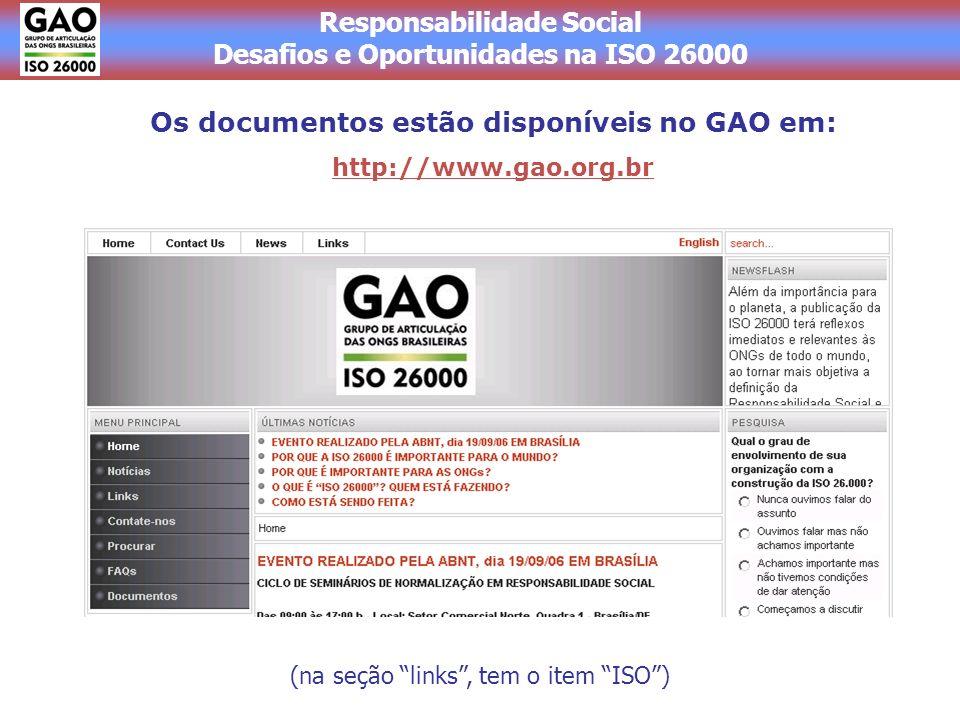 Os documentos estão disponíveis no GAO em: