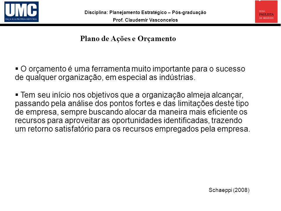 Plano de Ações e Orçamento