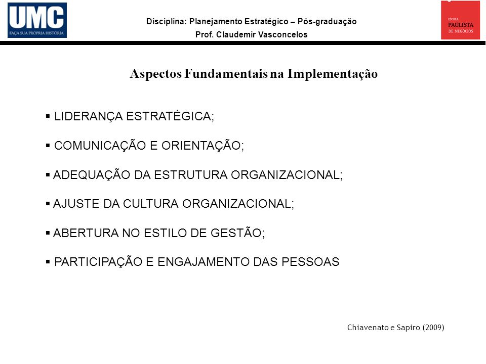 Aspectos Fundamentais na Implementação