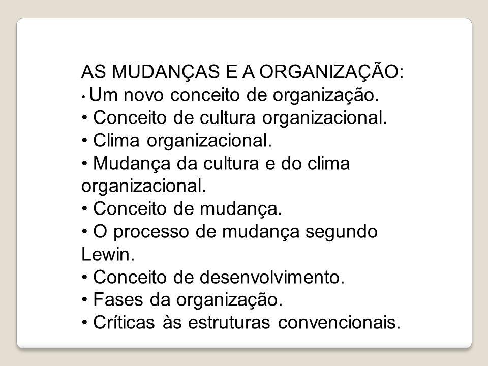 AS MUDANÇAS E A ORGANIZAÇÃO: Conceito de cultura organizacional.