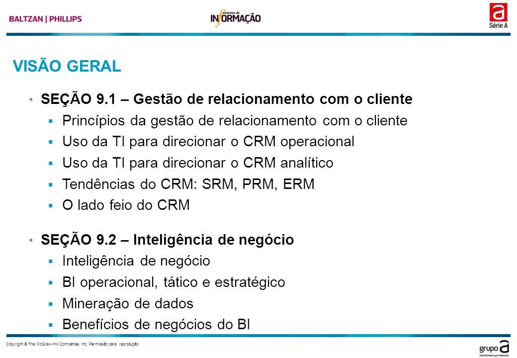 VISÃO GERAL SEÇÃO 9.1 – Gestão de relacionamento com o cliente