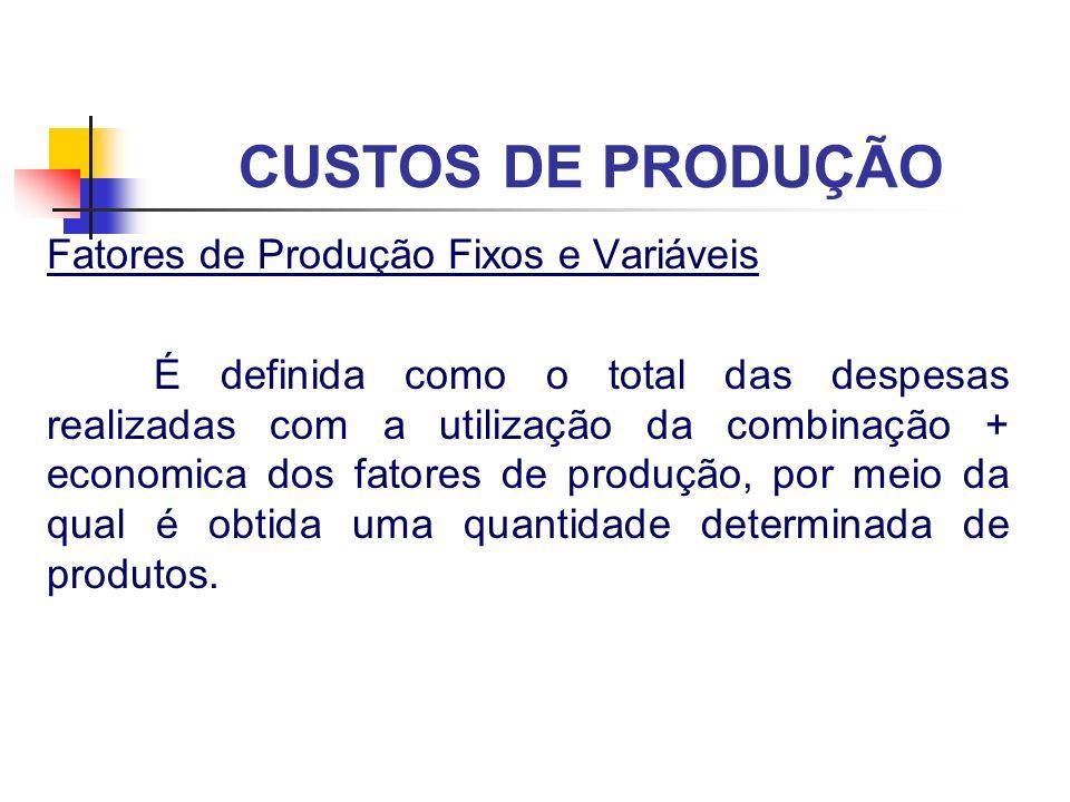 CUSTOS DE PRODUÇÃO Fatores de Produção Fixos e Variáveis