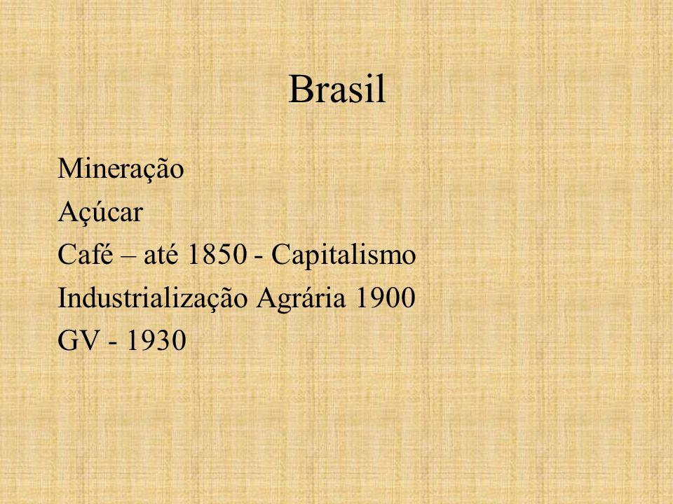Brasil Mineração Açúcar Café – até 1850 - Capitalismo Industrialização Agrária 1900 GV - 1930