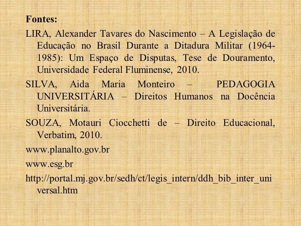 Fontes: LIRA, Alexander Tavares do Nascimento – A Legislação de Educação no Brasil Durante a Ditadura Militar (1964-1985): Um Espaço de Disputas, Tese de Douramento, Universidade Federal Fluminense, 2010.