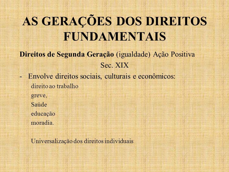 AS GERAÇÕES DOS DIREITOS FUNDAMENTAIS