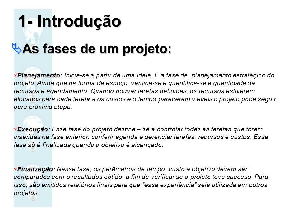 1- Introdução As fases de um projeto: