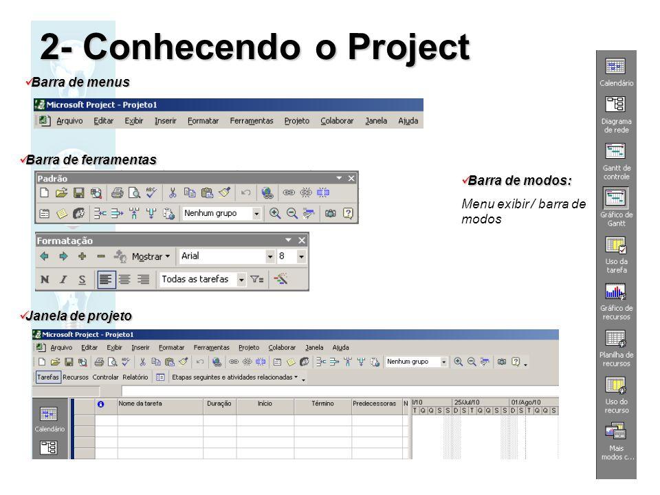 2- Conhecendo o Project Barra de menus Barra de ferramentas