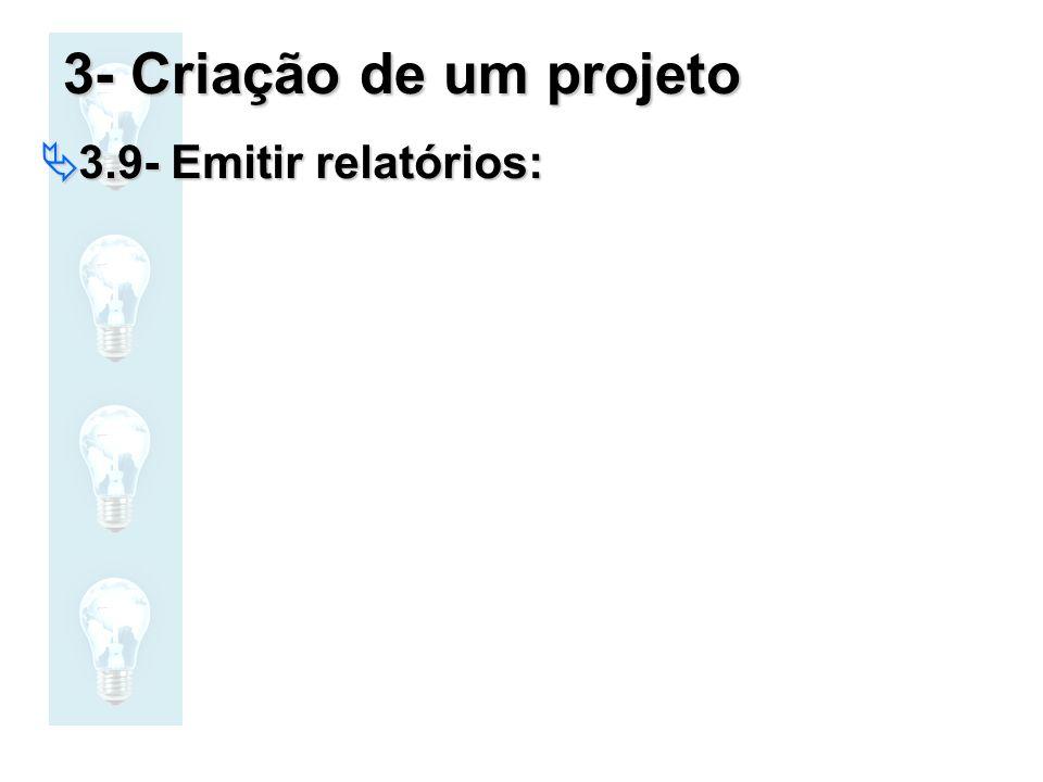 3- Criação de um projeto 3.9- Emitir relatórios: