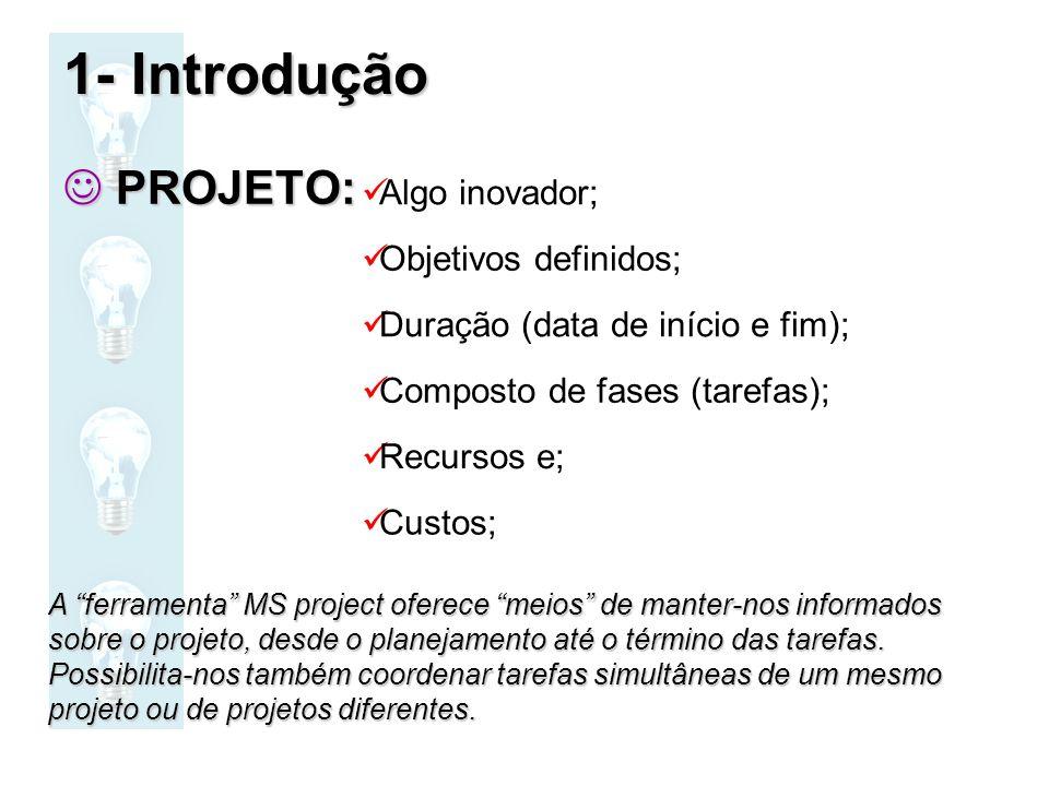 1- Introdução PROJETO: Algo inovador; Objetivos definidos;