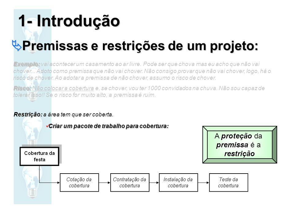 1- Introdução Premissas e restrições de um projeto: A proteção da