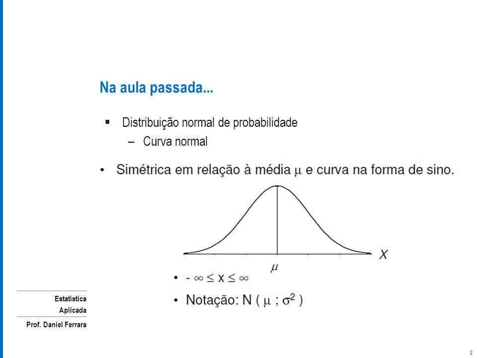 Na aula passada... Distribuição normal de probabilidade Curva normal