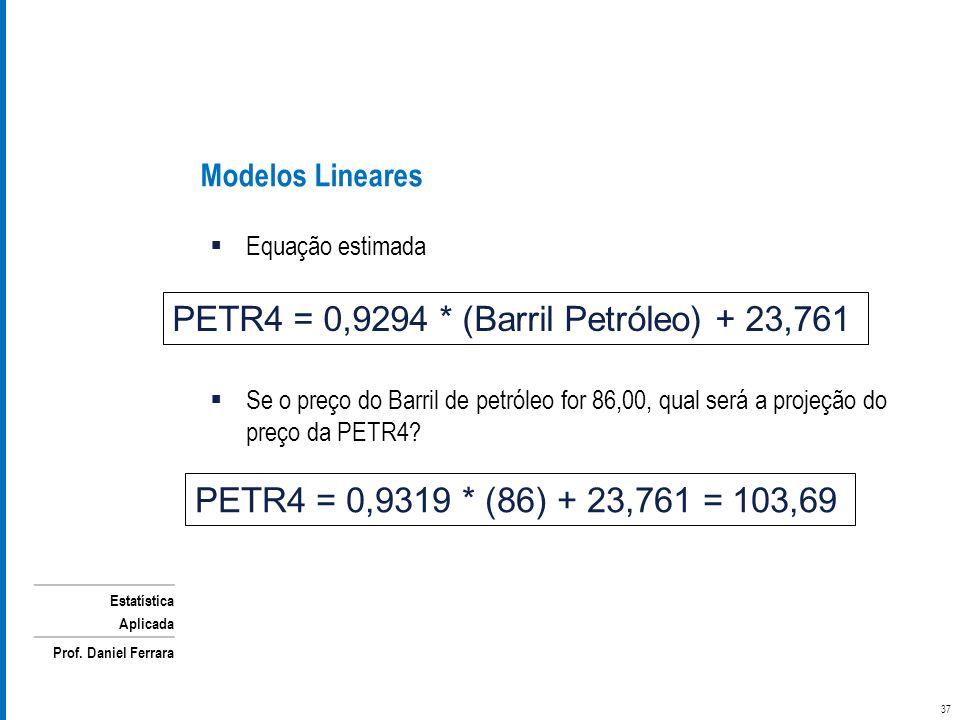 PETR4 = 0,9294 * (Barril Petróleo) + 23,761