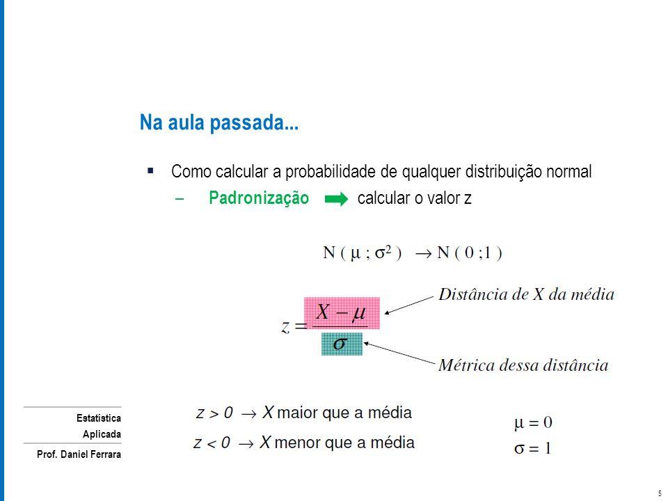 Na aula passada... Como calcular a probabilidade de qualquer distribuição normal.