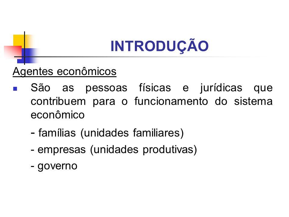 INTRODUÇÃO - famílias (unidades familiares) Agentes econômicos