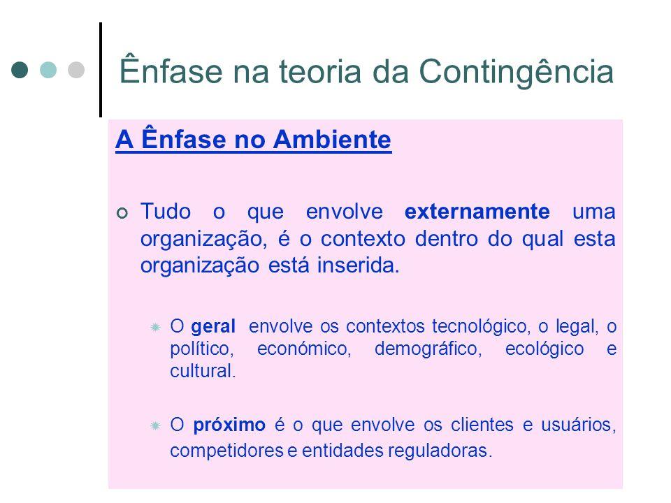 Ênfase na teoria da Contingência
