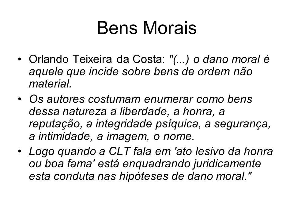 Bens Morais Orlando Teixeira da Costa: (...) o dano moral é aquele que incide sobre bens de ordem não material.