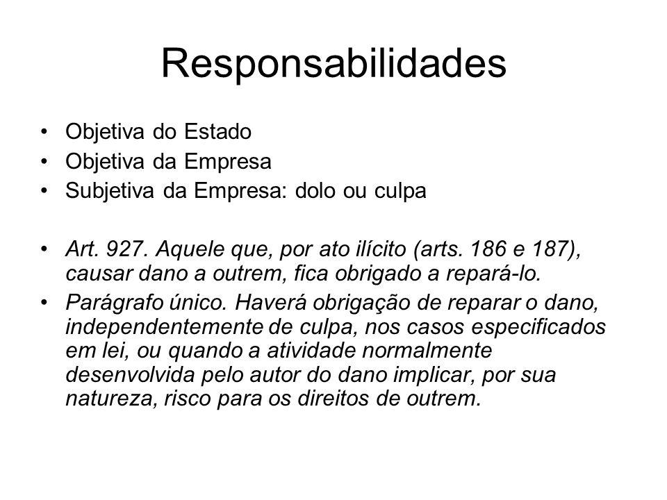 Responsabilidades Objetiva do Estado Objetiva da Empresa