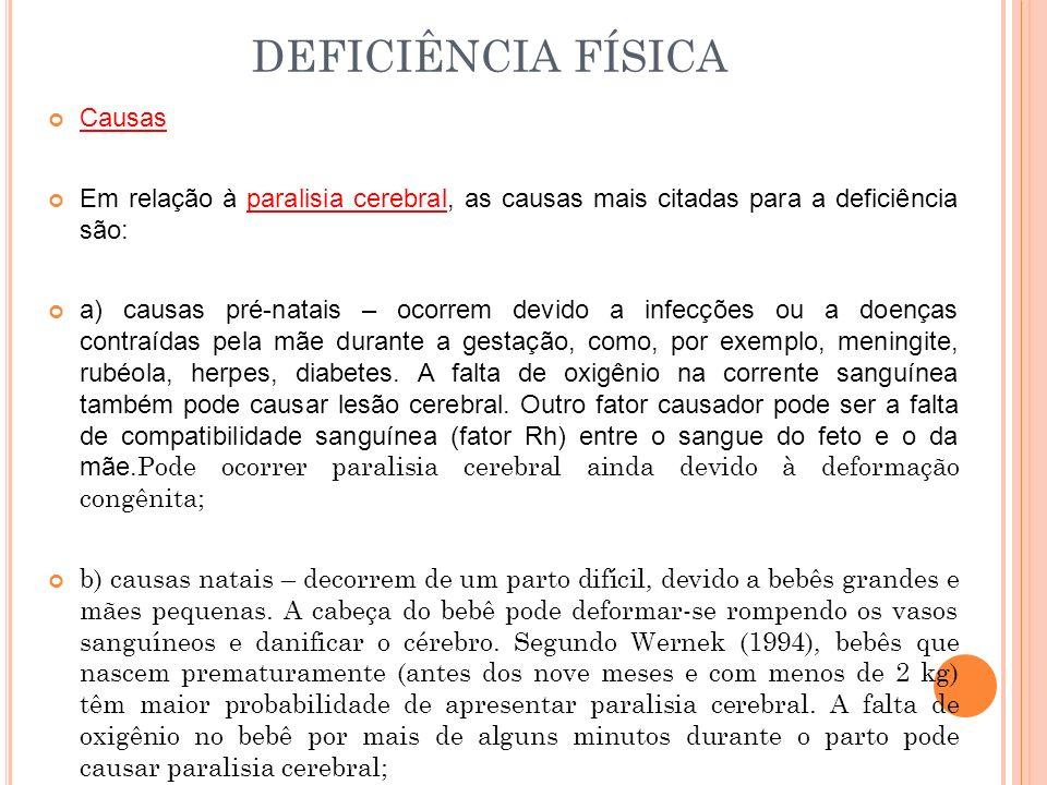 DEFICIÊNCIA FÍSICA Causas