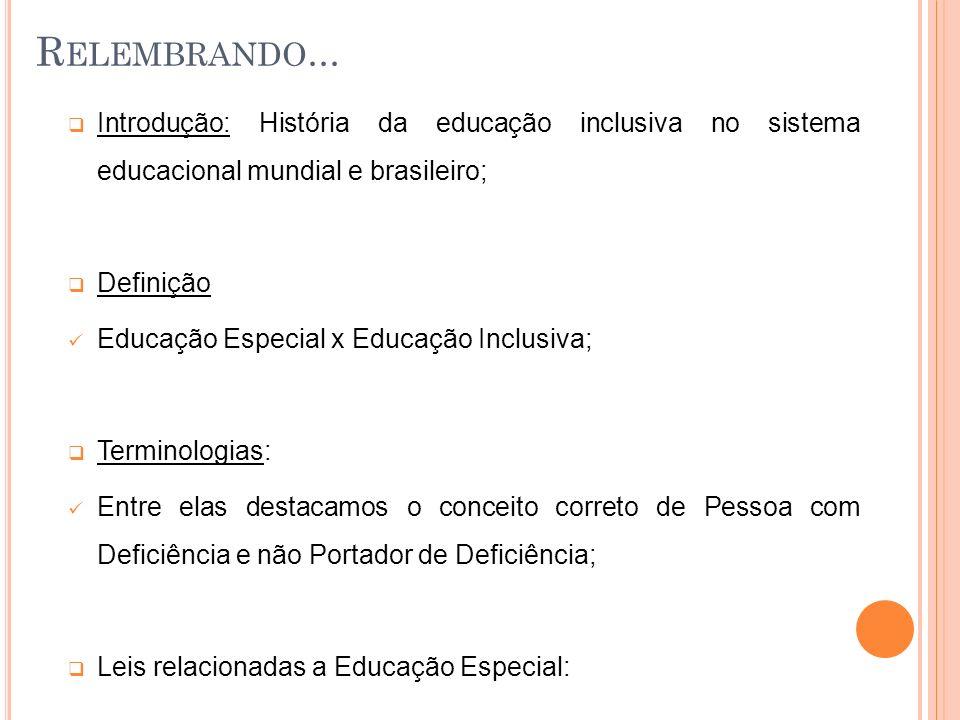 Relembrando... Introdução: História da educação inclusiva no sistema educacional mundial e brasileiro;