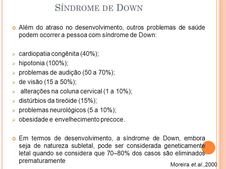 Síndrome de Down Além do atraso no desenvolvimento, outros problemas de saúde podem ocorrer a pessoa com síndrome de Down: