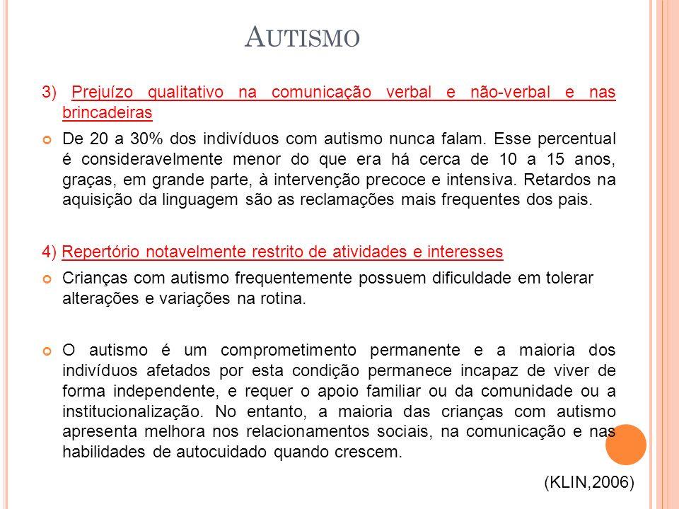 Autismo 3) Prejuízo qualitativo na comunicação verbal e não-verbal e nas brincadeiras.